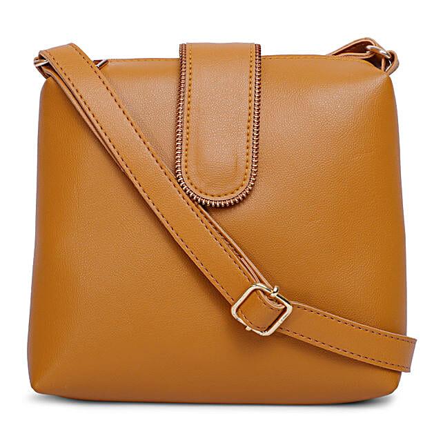Bagsy Malone Chain Flap Sling Bag- Walnut Brown:Sling Bags