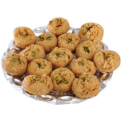 Balushahi In Silver Tray-Balushahi 500 grams in Round Tray