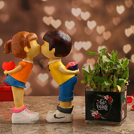 Bamboo Plant In Be Mine Vase & Couple Figurine