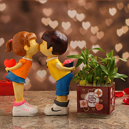 Bamboo Plant In Lucky to Have You Vase & Couple Figurine