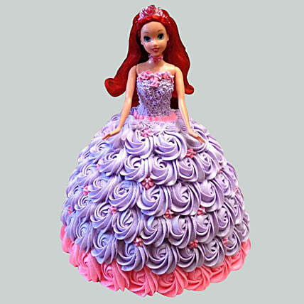Barbie In Floral Roses Cake Chocolate 2kg Eggless
