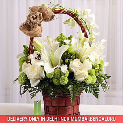 basket arrangement of flower