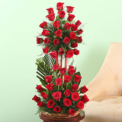 Online Basket of Red Roses:25Th Anniversary Gifts