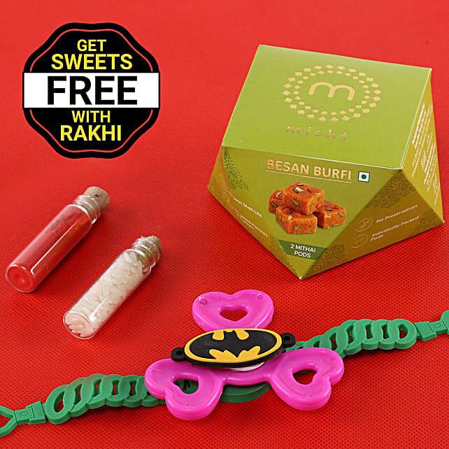 Online Batman Rakhi With Sweets