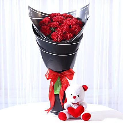 Teddy Bear with Carnations Combo Online