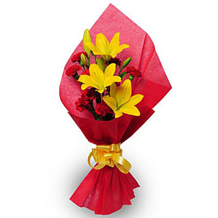 Beautiful Bouquet-10 carnations with 2 asiatic lilies:Boss Day Flowers