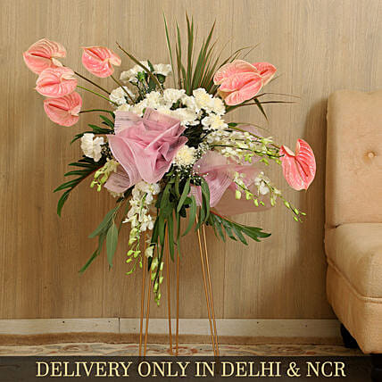 Beautiful Flowers Bunch With Iron Stand