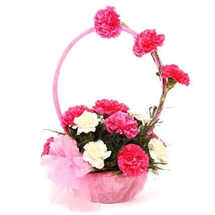 Basket arrangement of 8 pink carnations, 3 white carnations, and seasonal filler womens day women day woman day women's day:Flower Basket