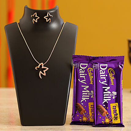 Necklace & Valentines Chocolates for Her
