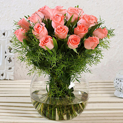 Beautiful Pink Roses Glass Vase Arrangement