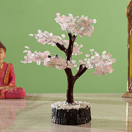 Beautiful Rose Quartz Clusters Wish Tree:Home Decor for Diwali