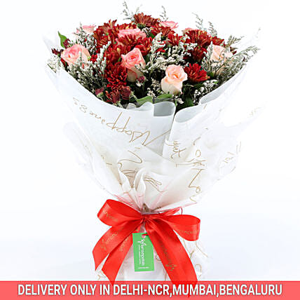 Order Online Beautiful Roses & Chrysanthemums Bouquet