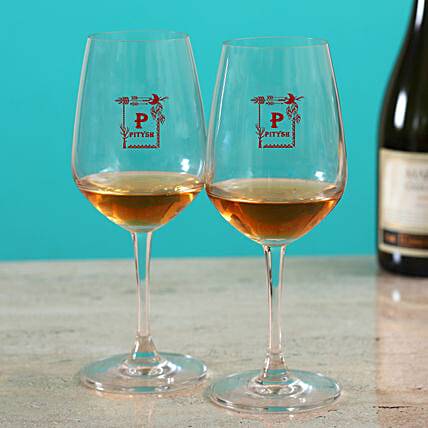 Beautiful Set Of Personalised Wine Glass:Send Personalised Wine Glasses