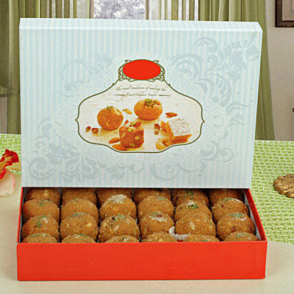 A box of besan laddoo:New Year Sweets