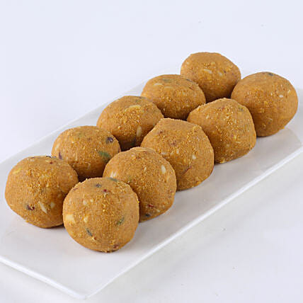 A box of besan laddoo sweets