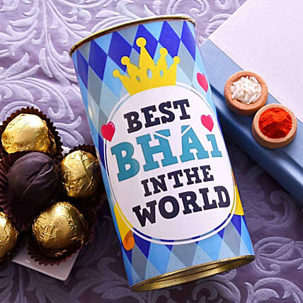 Best Bhai Truffle Tin With Roli & Chawal:Brownies