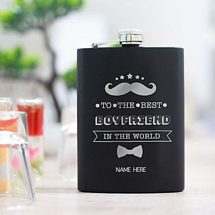 Mustache Printed Hip Flask Online