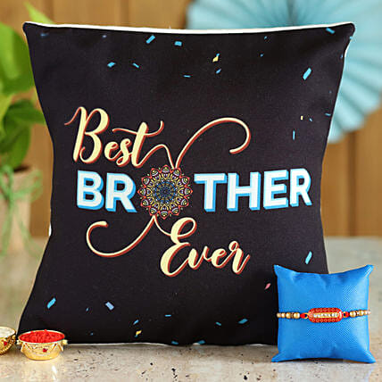 Designer Rakhi and Cushion Combo for Brother