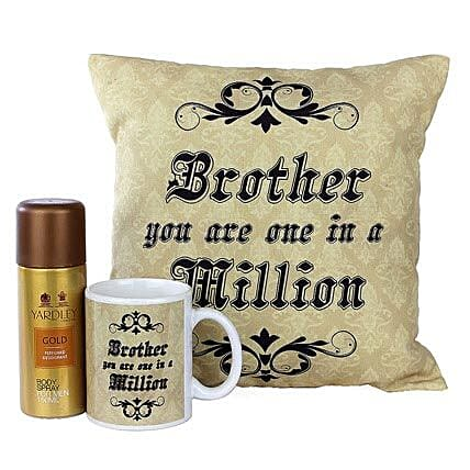Best Brother Combo-One 12X12 inches Cushion,One Mug,Yardley Gold Body Spray 150 ml:Buy Perfume