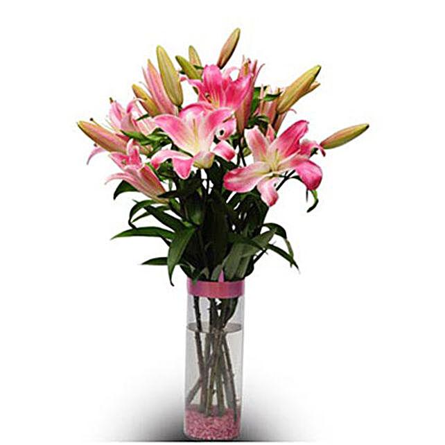 Best Greetings - 6 Pink Oriental Lilies in a glass Vase.