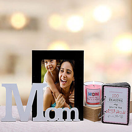 Best Mom Gift Hamper-1 personalized photo frame for mom,1 candle for mom and 100 reasons why you are the best mom booklet:Personalised Photo Frames Mumbai