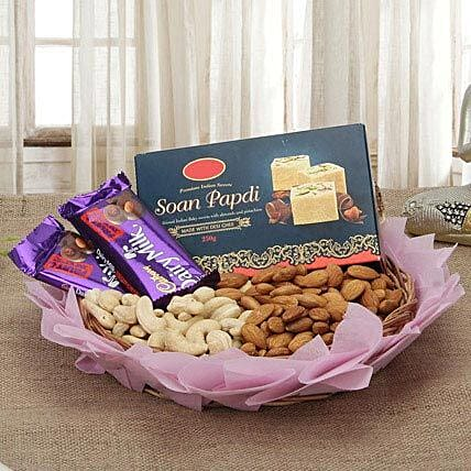 Combo of chocolates, dry fruits and:Karva Chauth Sargi Gifts