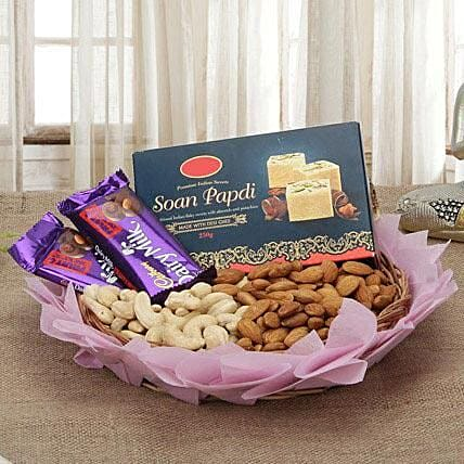 Combo of chocolates, dry fruits and:Send Gifts for Lohri