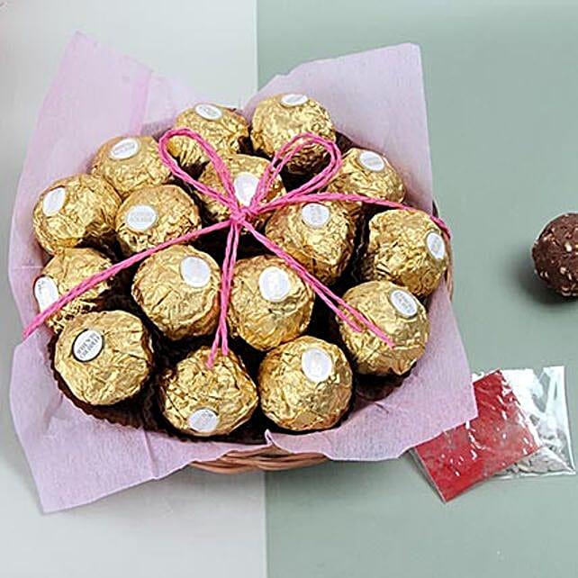 Ferrero Rocher chocolates in a basket