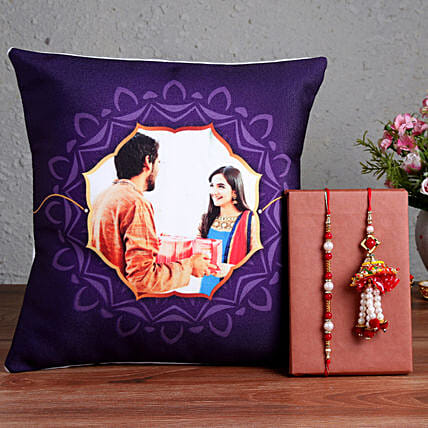 Online Siblings Photo Cushion with Rakhis