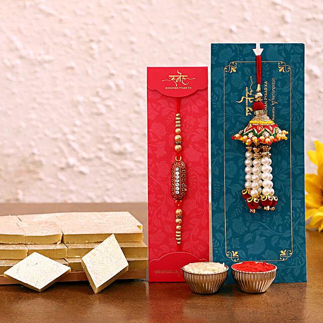 Bhaiya bhabhi rakhi set and kaju katli online