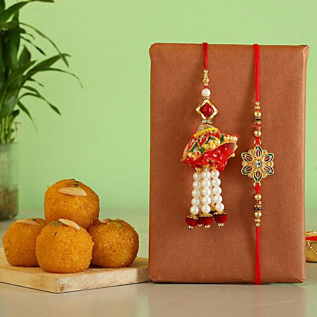 Bhaiya bhabhi rakhi with motichoor laddu online
