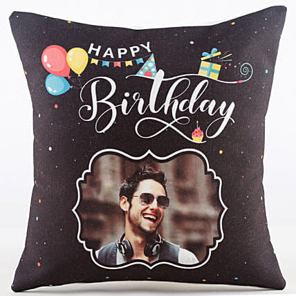 happy birthday with photo printed cushion online