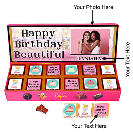 happy birthday chocolate customised for her:Personalised Chocolates to Lucknow
