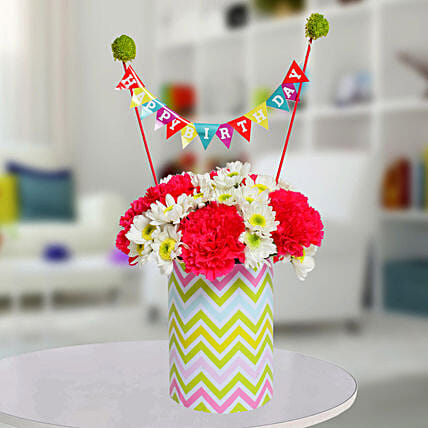 Special Birthday Vase Arrangement:Flower Arrangement In Vase