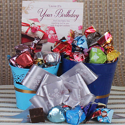 Birthday Wishes Assorted Chocolates Bucket Hamper:Combos for Friend