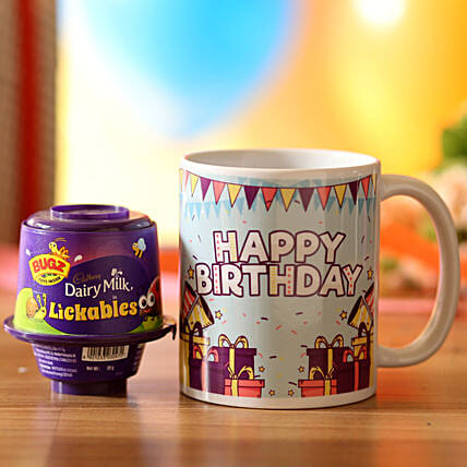 customised printed mug with chocolate for birthday