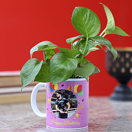 online custom mug with money plant for him