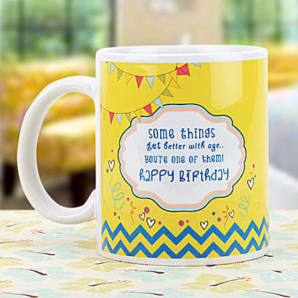 Birthday Wishes-white and yellow Color Non Personalized Mug