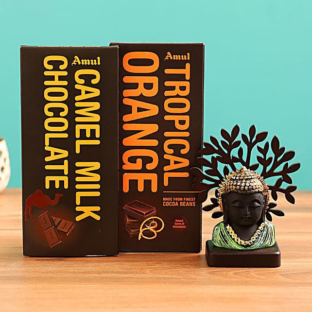 Send  Buddha Idol and  Chocolate