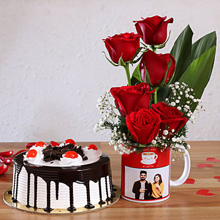 Black Forest Cake & Red Roses Personalised Combo