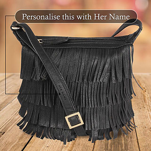Black Frill Sling Bag Online
