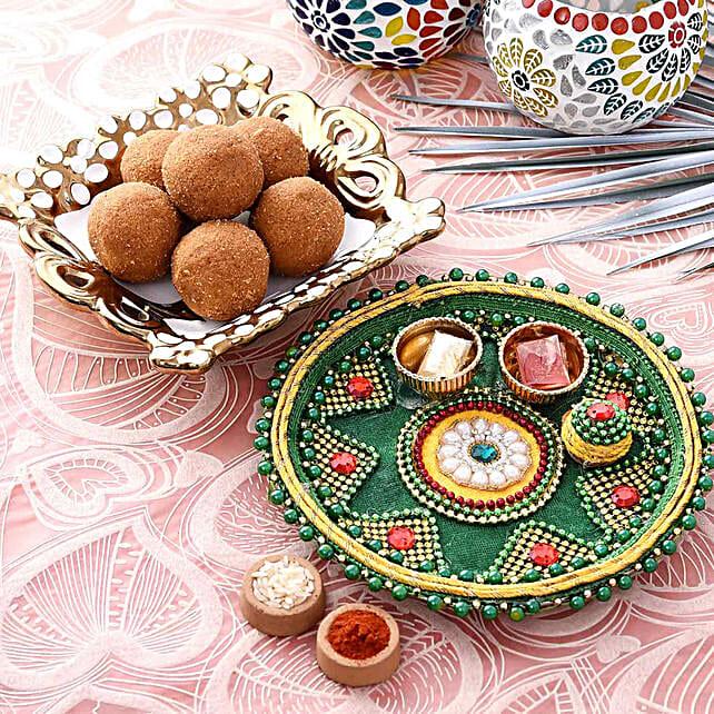 Blissful Green Pooja Thali With Besan Laddu Combo:Pooja Thali
