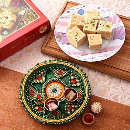 Blissful Green Pooja Thali With Soan Papdi Combo:Pooja Thali