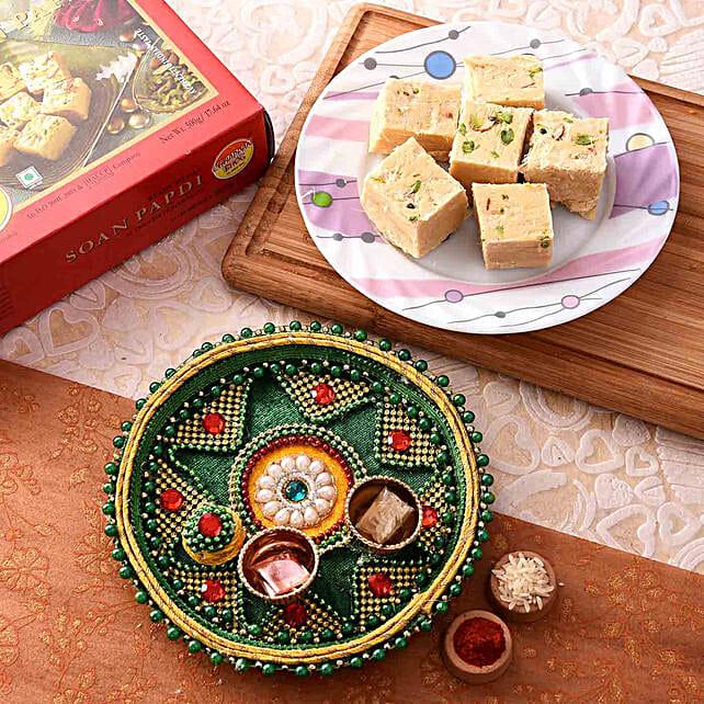 Blissful Green Pooja Thali With Soan Papdi Combo:Send Pooja Thali