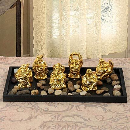Resin Buddha set in a tray:Buddha Gifts