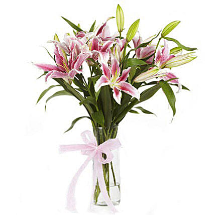 Blooming Beauty - 6 Pink oriental lilies in a glass vase.