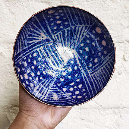 Online Blue Abstract Copper Bowl