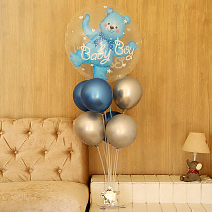 Baby Boy Bouquet Balloons Online:New Born Baby Gifts