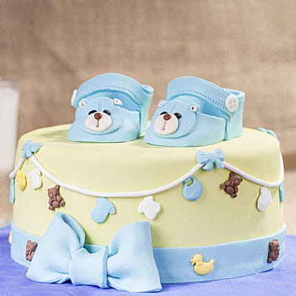 OnlineBlue Baby Shoes Truffle Cake:Send Gifts for Newborn