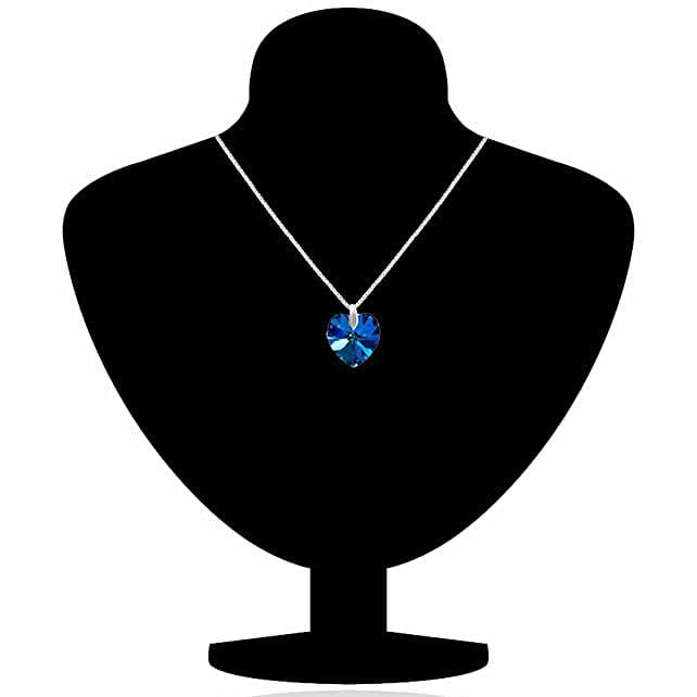 Blue Crystal Heart Shape Pendant:Necklaces for Women